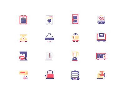 Icons - Appliances bonnet kettle washer fridge sketch appliances icons