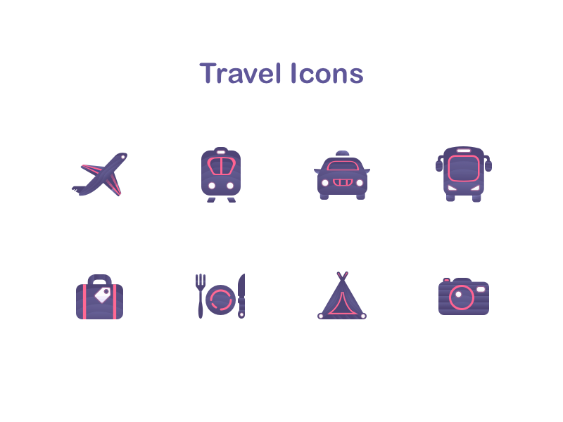 Travel S Icons camera camping beverage and food bag bus taxi train aircraft