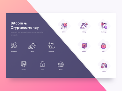 Bitcoin & Cryptocurrency Icons bitcoin services website wallet lock security minning exchange icons cryptocurrency bitcoin