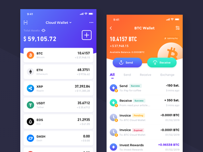 Crypto Wallet Exploration-01 transactions btc assets design wallet app interface ui crypto