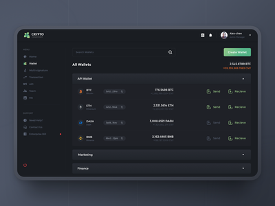 Crypto Custody ui interface web clients services asset crypto
