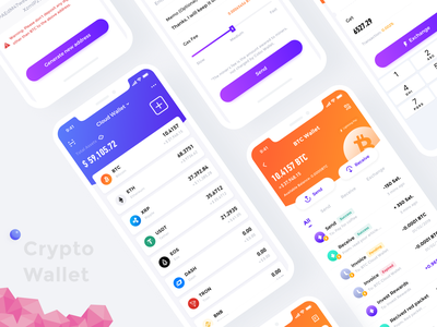 Crypto Wallet 3 transactions wallet crypto currency crypto btc assets interface app ui