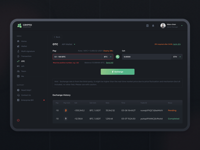 Crypto Custody --OTC exchange otc ui interface assets services sketch crypto dashboad design