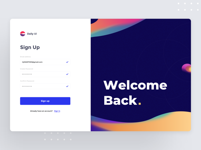 Sign up | Daily UI color ui dashboad daily 100 challenge welcome page sign up