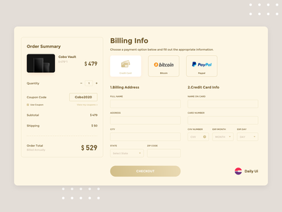 Checkout | Daily UI billboard cobo interface ui design web checkout page order billing