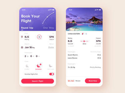 ✈️Travel app concept mobile ui flight booking round trip flight ios app ui