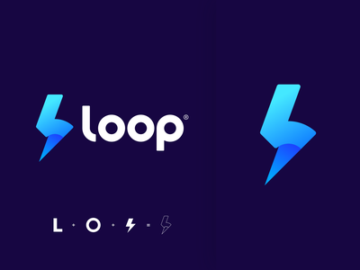 LOOP Branding cryptocurrency lightning circle branding design logo loop