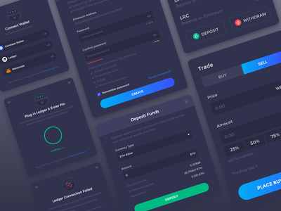 Dark UI Design System Components crypto components deposit wallet account user interface ui inputs dashboard buttons