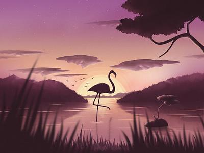 Lonely Flamingo Vector Illustration