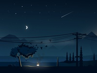 The graphic valley night illustration