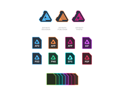 Affinity Icons in Adobe Style adobe icons affinity publisher affinity photo affinity designer icons adobe affinity file type icons affinity flat icons
