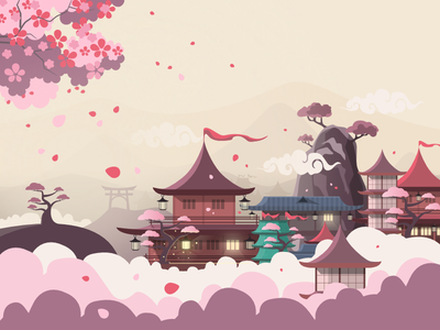 A Blossom Valley in Japan japan illustration mountains cherry blossoms blossom sakura japan