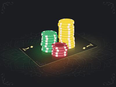 Poker chips card illustration