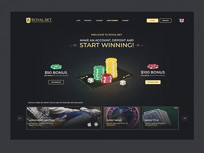Royal.bet Webpage casino playing cards gambling slots games illustration poker chips poke