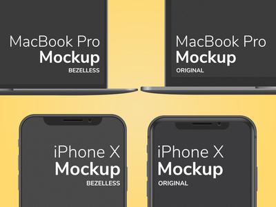iPhone X MacBook Pro Mockup Bezelless