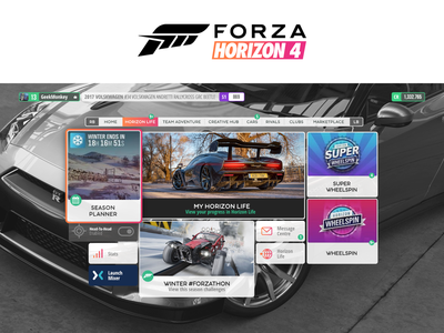 Forza Horizon 4 UI Without Flat Design game interface game design for fun redesign game ui ui forza horizon 4
