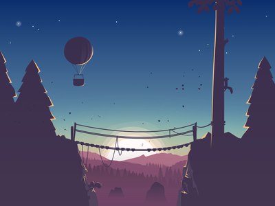 Wooden Bridge Vector Illustration hot air ballon landscape illustration nature landscape night sky illustration sunset illustration vector landscape vector illustration wooden bridge