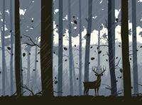 Vector Landscape Illustration Raining