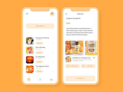 Wisy Wish/Gift List App orange app ui yellow app ui app design app ui mobile app ui mobile app design wishlist app gift app