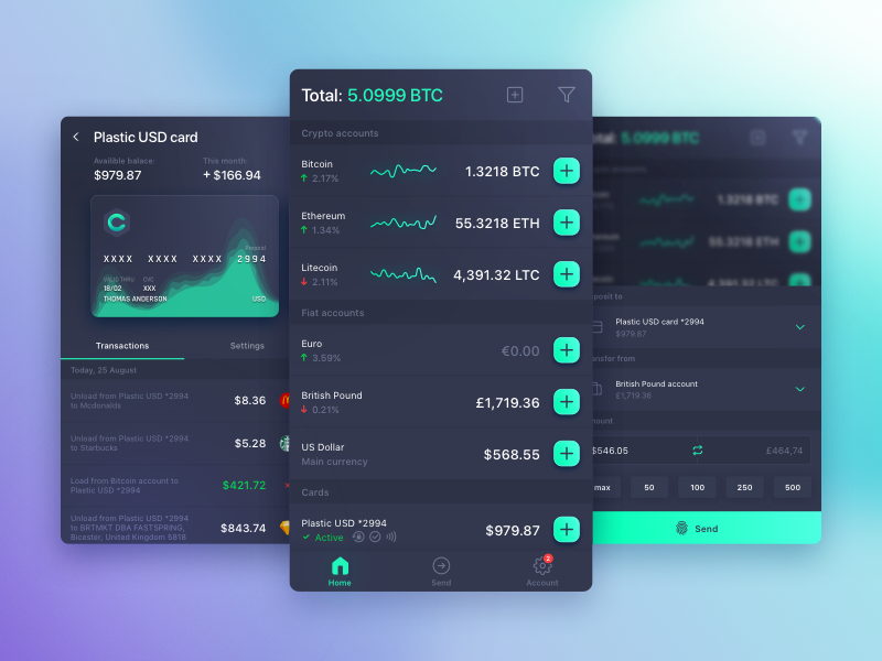 Crypto wallet dark ui mobile ethereum design dashboard cryptocurrency crypto cards bitcoin app