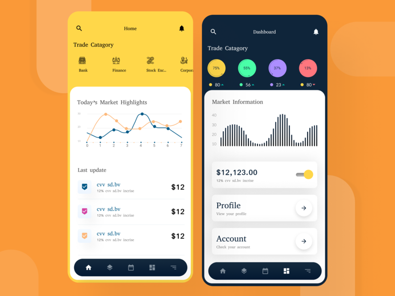 Trade App -Trading Dashboard app ux ui concept typography minimal colour creative dailyui 2020 trend design stock exchange trading app dashboard ui