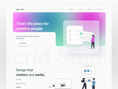 Acrid Studio ios message app famous web design creative design agency landing page mesh gradient trend 2021 google color web concept typography design colour minimal creative ux ui