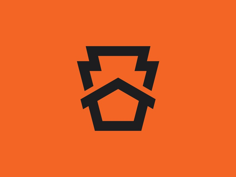 Keystone Logomark identity logomark branding brand house logo roof ddc thicklines lines bold minimal retro industrial illustration construction keystone house symbol mark logo