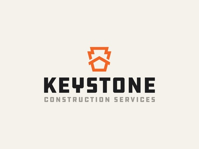 Keystone Construction Services Logo thicklines bold badge logo badge retro brand identity identity construction logo hardware industrial ddc house logo keystone construction house icon branding brand logomark logo