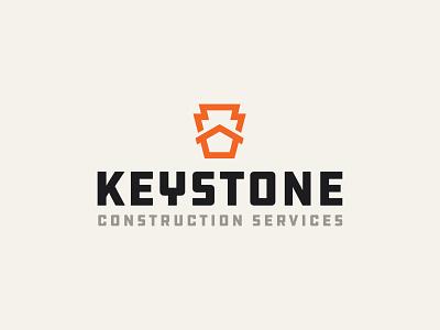 Keystone Construction Services Logo thicklines bold badge logo badge retro brand identity identity construction logo hardware industrial ddc house logo keystone construction house icon branding brand logomark logo