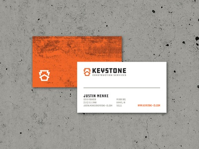 Keystone Construction Services Business Cards business card logo logomark brand branding icon house construction keystone house logo ddc industrial hardware construction logo identity brand identity retro badge badge logo thicklines