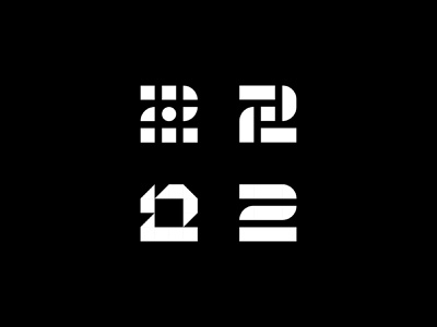 Number 2 Logo minimal bold retro illustration branding identity brand digital media geometry circles squares geometric two number 2 number symbol icon mark logo