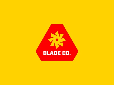 Blade Co. Branding Logo patch typography retro logomark construction media digital rotation identity branding brand badge industrial sharp saw blade symbol mark icon logo
