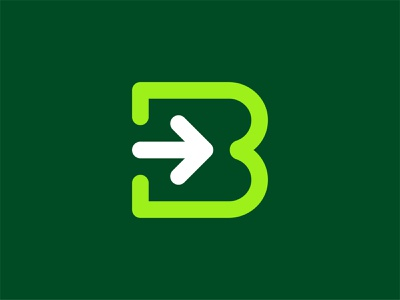 Letter B Logo tech industrial retro minimal 3 number lines round media digital typography type arrow letter b letter logomark symbol icon mark logo