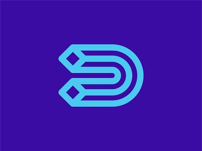 Letter D Logo identity brand branding cube squares geometry geometric lines d noodle typography letter type media digital illustration symbol mark icon logo