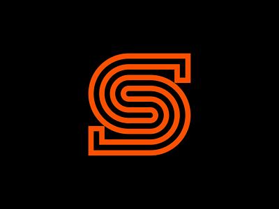 Letter S Logo construction retro bold minimal industrial geometry branding brand media digital curves lines s typography type letter symbol mark icon logo