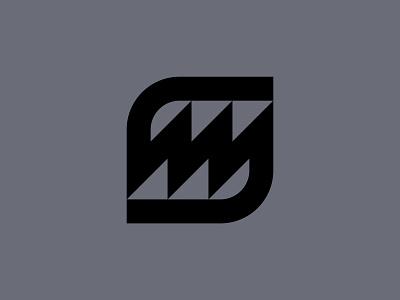 SM Monogram goemetric energy lightning bolt sm monogram identity branding brand minimal industrial retro bold lines media digital symbol mark icom logo