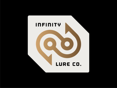 Infinity Lure Co. Logo angles modern infinity patch badge identity industrial minimal fishing fish hook outdoors media digital branding brand symbol mark icon logo