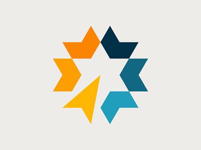 Star Logo ribbon cirlce arrow triangles grid industrial media digital geometry geometric modern minimal star identity branding brand symbol mark icon logo