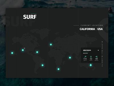 Surf Website Map Interface Design web design web websites minimal modern map uidesign ux design ocean dribbble glow in the dark sketch clean website homepage water surf ui ux glow