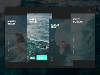 Surf Website Location Cards Interface Design web design webdesign web water uidesign uxdesign ux uiux ui design ui surf photoshop sketch ocean modern minimal location homepage dribbble clean