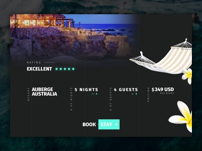 Surf Website Hotel Accommodations Interface Design dark web design webdesign website web water ux uiux ui design uidesign ui surf sketch photoshop booking hotel ocean modern dribbble minimal