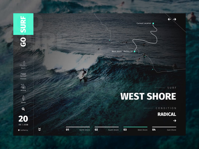 GoSurf Website Hero Animation Interface Design website interaction motion animation ui dark water surf homepage adobe after effects animation after effects sketch dribbble ocean map hero modern web web design