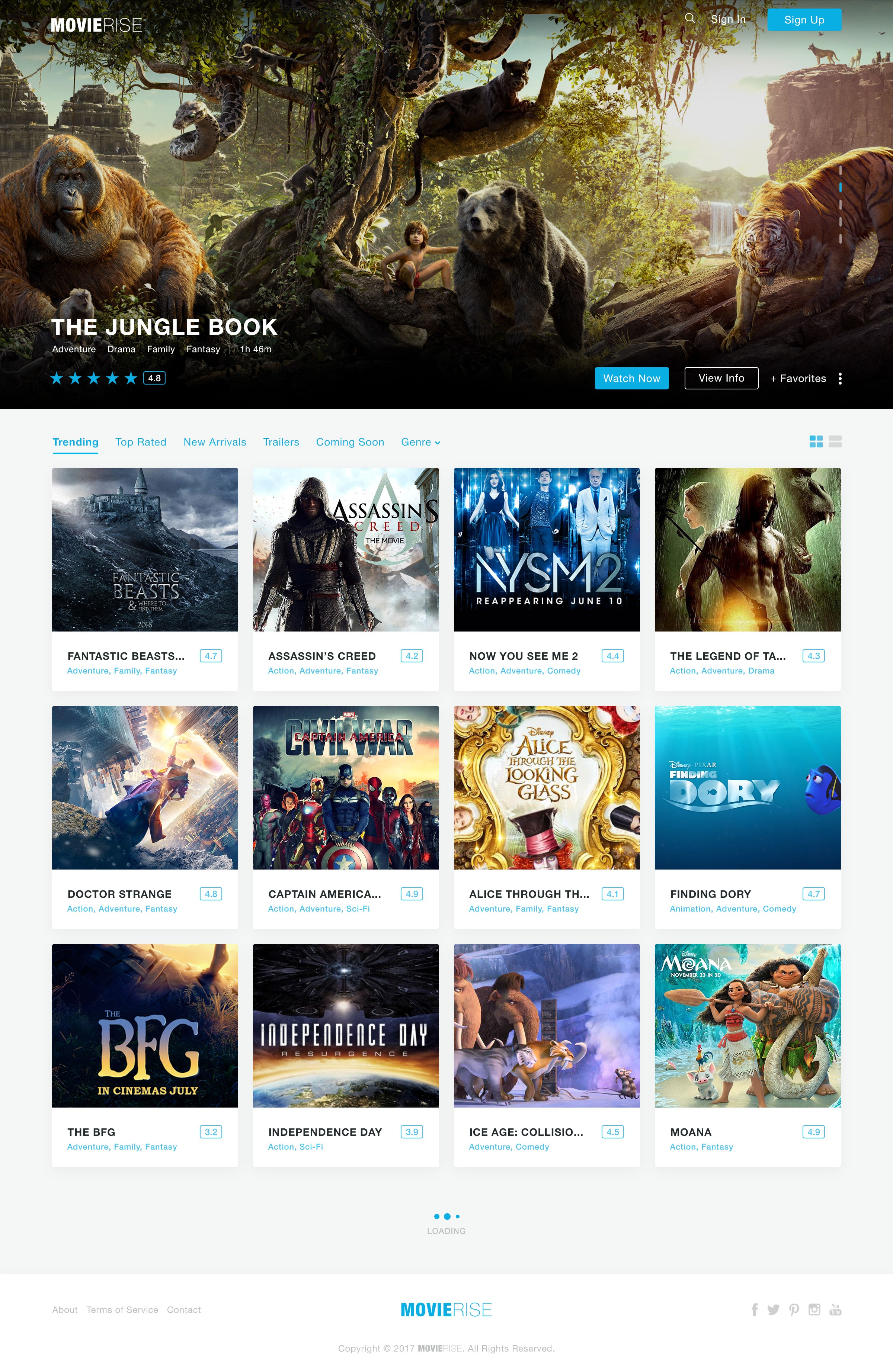 Movierise design homepage