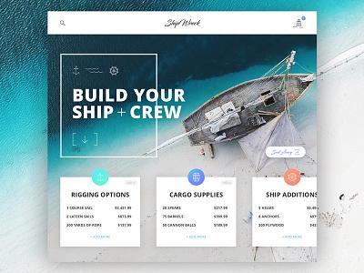 Ship Wreck Checkout photoshop sketch ui ux blue checkout gradient ship sea black flag pirate