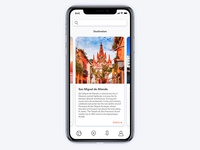 iphone X travel app card view
