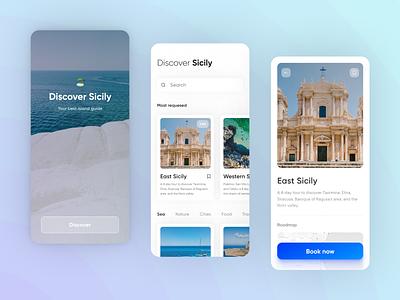 Discover Sicily: travel guide app guide app travel guide trip travel app travel app design ui ui design app sicily