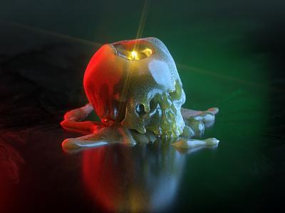 Blessed Hellride illustration d 4 cinema c4d candle light octane 3d skull