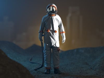 Outside astronaut illustration design c4d 3d