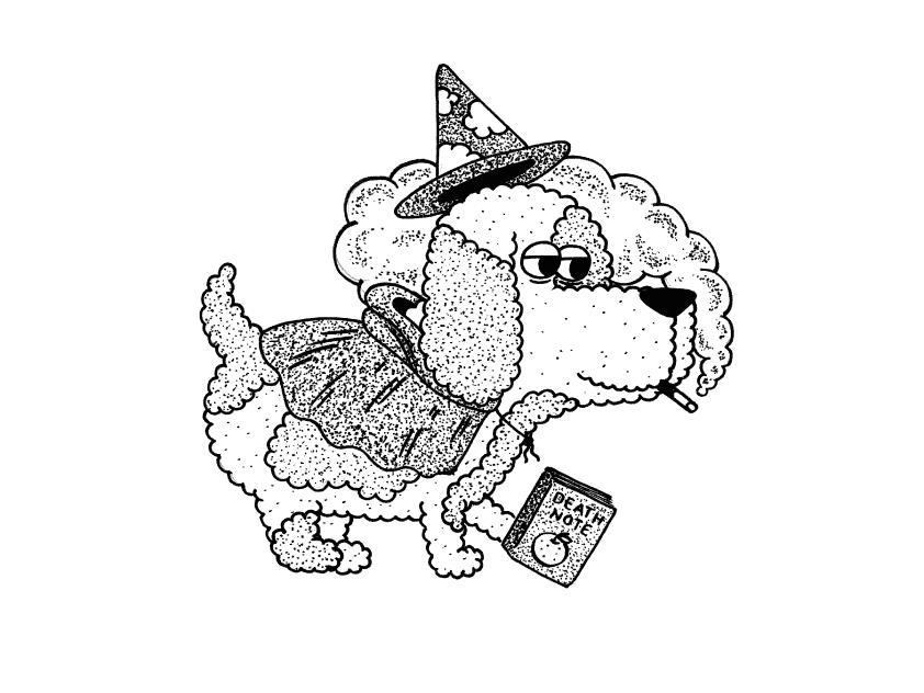 the dog wizard hat smoke death note magic wizard dog animal design sketch digital character vector méxico draw illustration