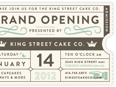King Street Cake Ticket grand opening ticket cake